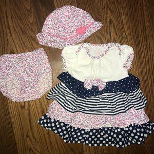 Children's Place Dress Bloomers & Hat 0-3m
